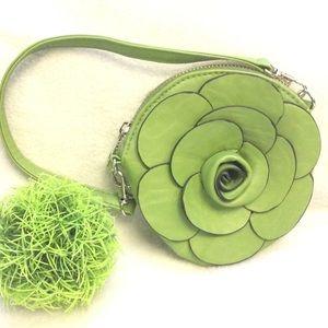 RARE handmade mini round 3D rose purse w. keychain